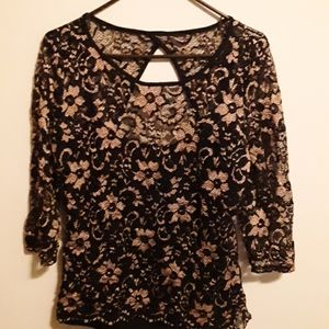 Black Net shirt with gold flowers